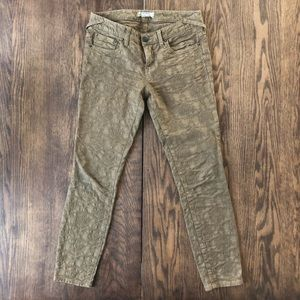 Free People army green printed skinny pant